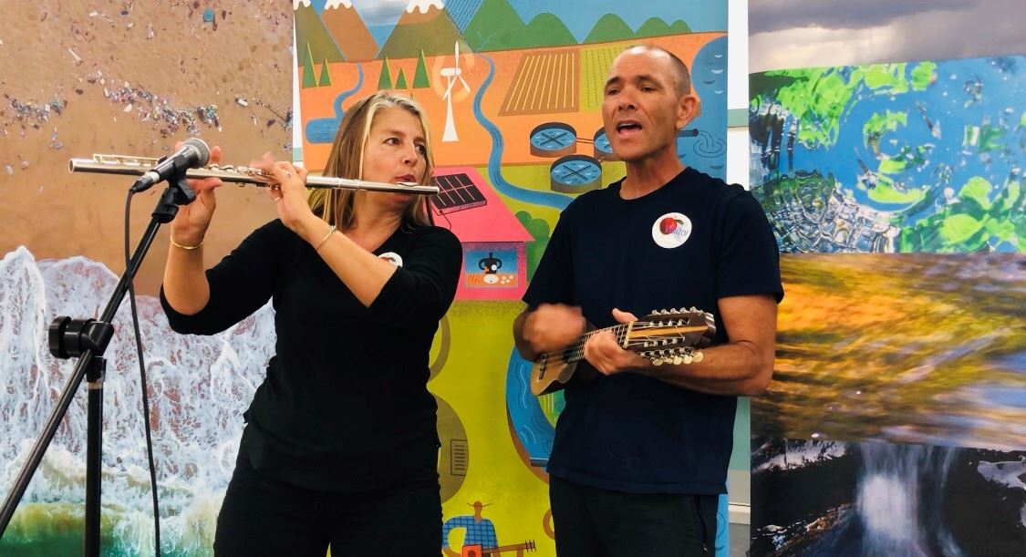 Man and Woman playing musical instruments