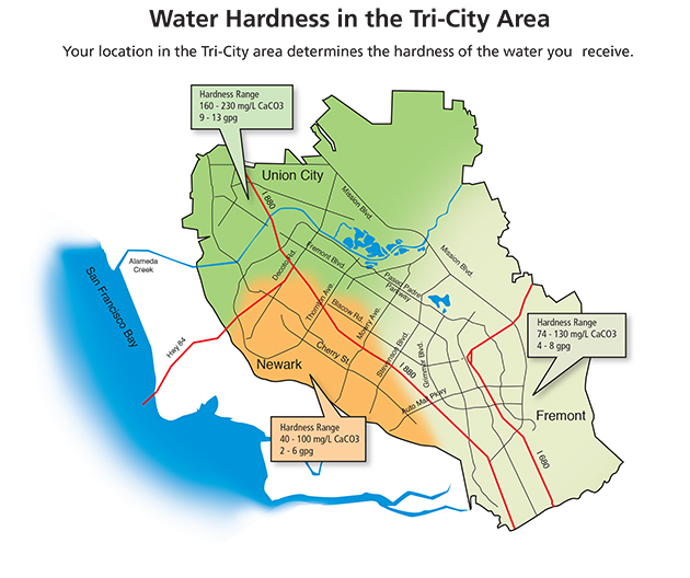 Alameda County Water District Official Website Water Hardness Map